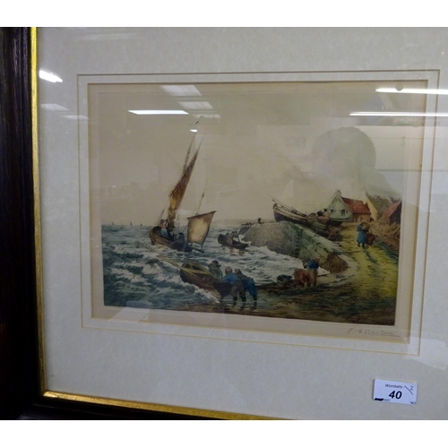 40 - A coastal engraving signed E H Barlowe 53cm x 49cm, together with a picture of a sailing ship togeth...