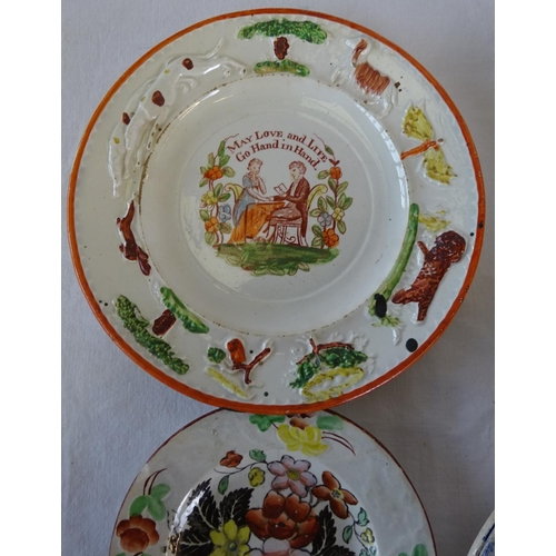 42 - A collection of mainly plates, to include three small 19th century Prattware style plates, Royal Dou...
