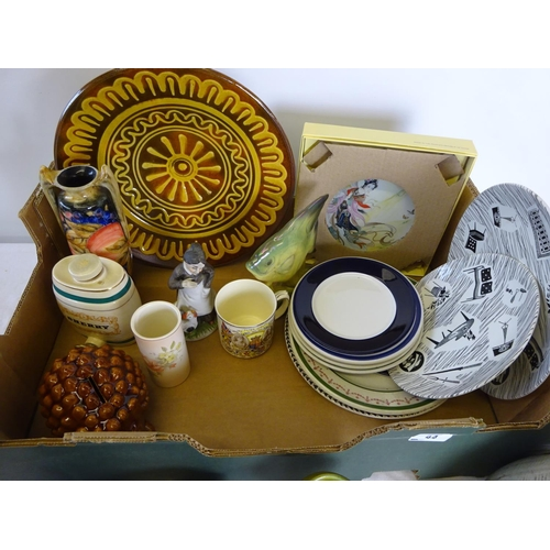 44 - A quantity of misc. ceramics to include Ringtons etc. to include a fake Moorcroft vase.