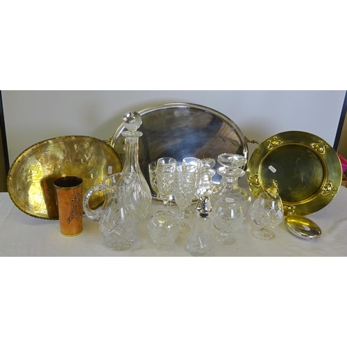 47 - A large EPNS tray together with further metal ware, two decanters, jug, misc. drinking glasses etc.