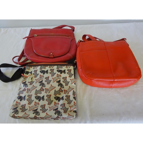 5 - A Radley zip top crossbody bag 25cm wide 25cm high together with two further Radley bags all used (3...
