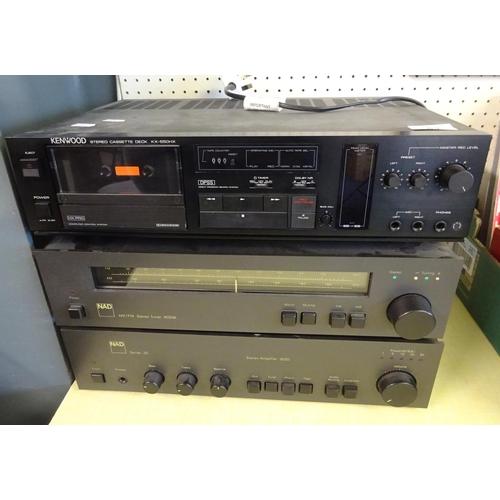 53 - Hi-Fi interest: a NAD Amplifier 3020 with a matching tuner 4020a; a Kenwood cassette deck KX-550HX. ...