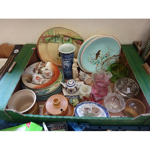 20 - A quantity of various glass and ceramics to include cabinet plates, animal trinkets, glass vases etc...