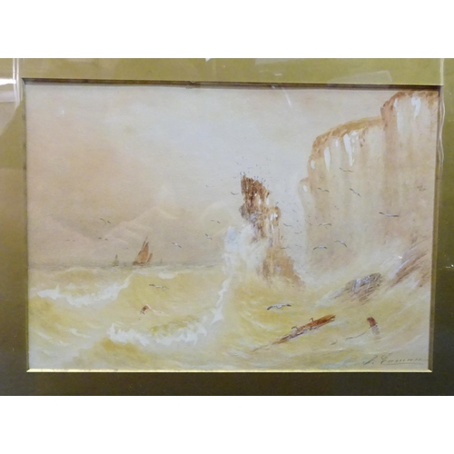 39 - A watercolour of a seascape in a gilt frame a/f indistinctly signed (64cm x 52cm) together with a Pa...