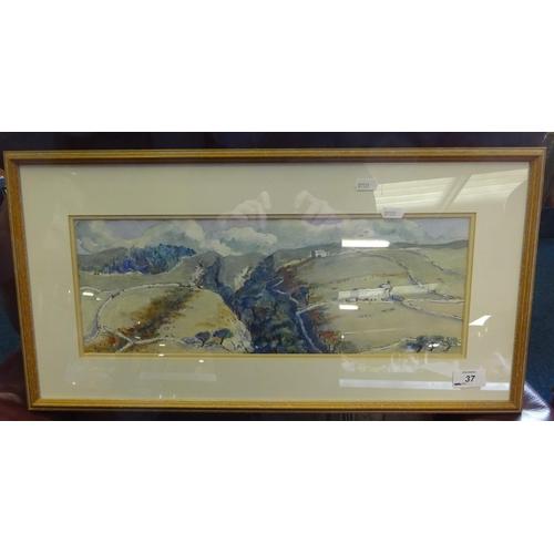 37 - Coverdale A divided landscape Jill Douglas framed watercolour 45 x 16cm.