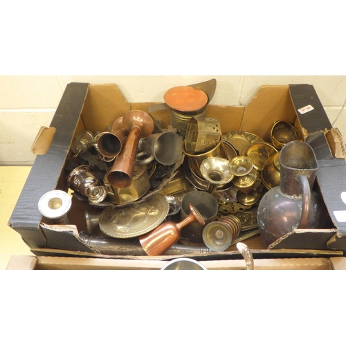 10 - Two boxes of various metal wares to include silver plated tea pots, candlesticks etc (2).