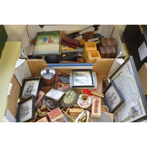 12 - Three boxes of collectables to include ephemera, prints, pictures, bookends, purses etc (3).