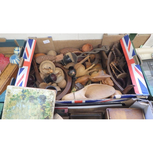 14 - A group of various wood carvings tpgether with shoe stretchers, boxes etc.