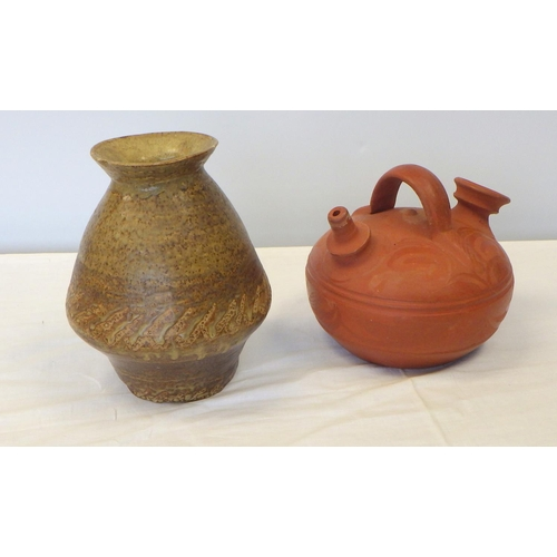 16 - A large quantity of various studio pottery to include a large bowl, vases etc (2).