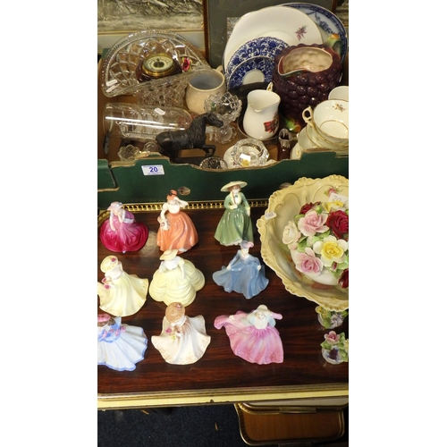 20 - A quantity of various ceramics and glass to include Coalport ladies, and a large David Shepherd Elep...