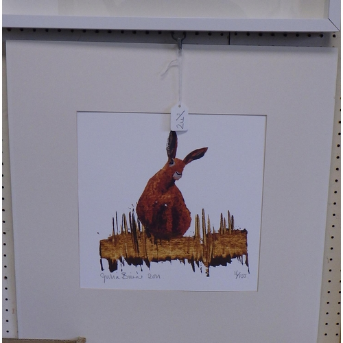 24 - Two framed 52 x 52 cm and one loose Julia Burns pencil signed prints. Chickens, Geese and rabbit (3)