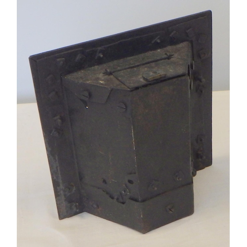 29 - A small cast iron fire insert 17 x 17 cm together with further metal wares, pair of spelter seals mo...