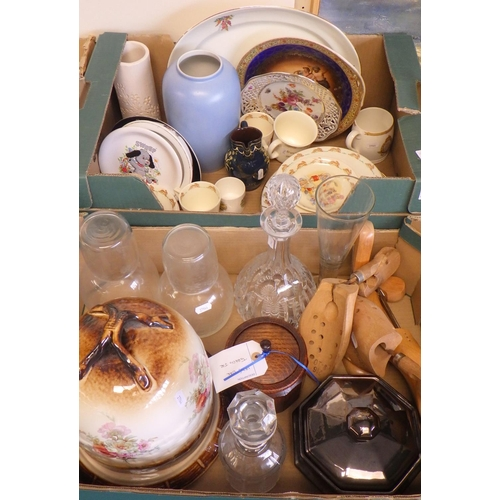 30 - Two boxes of misc ceramics and glass to include a quantity of Royal Doulton Bunnykins, decanter, pla...