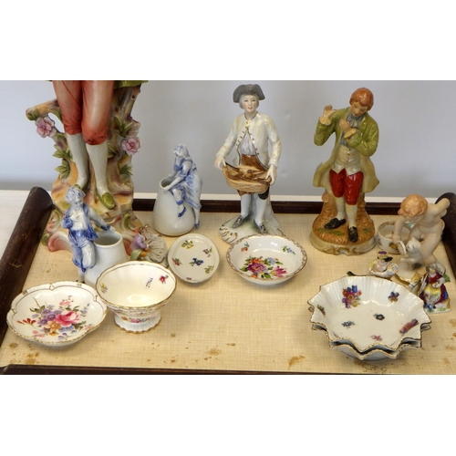 32 - A group of various figures together with small pin dishes etc to include Royal Crown Derby, Minton a...