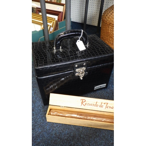 37 - A cantilever jewellery box together with a African stick, large cigar, wicker mounted glass bottle a...