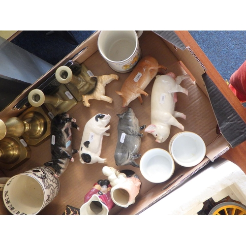 43 - Various collectables to include Beswick pigs, Wedgwood Richard Guyatt cup, brass candlesticks, Black...