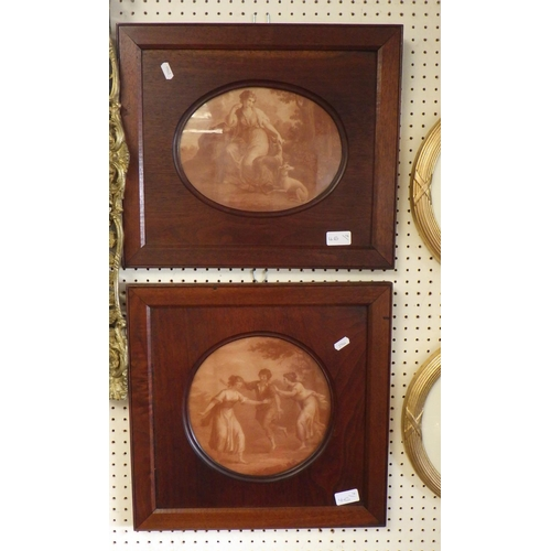 46 - Two oval framed prints 46cm wide together with two further prints (4).