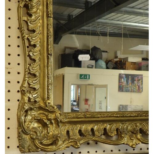 49 - A large gilded framed mirror 90 x 75cm.