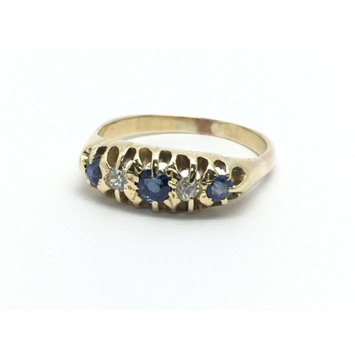 15 - A vintage sapphire and diamond ring, approx 4.7g and approx size R....