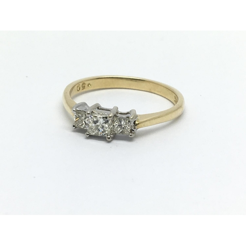 16 - An 18ct gold diamond ring set with three princess cut diamonds, approx 1/2ct, approx 2.8g and approx...