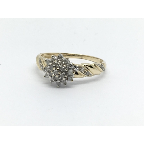 19 - A 9ct gold diamond cluster ring, approx 1.8g and approx size P-Q....