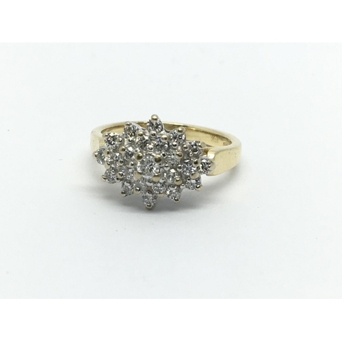 24 - An 18ct gold diamond cluster ring, approx.54ct, approx 4.5g and approx size K....