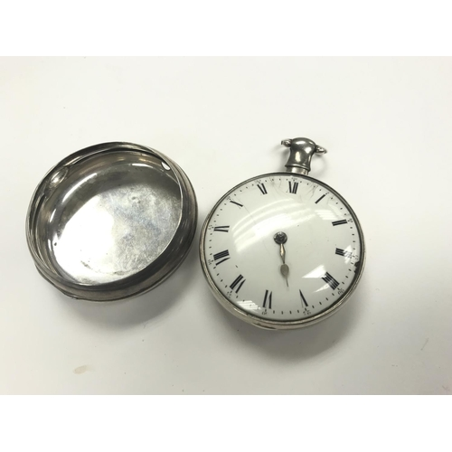 4 - An early silver pair cased pocket watch by R.Roskell, Liverpool, (3081) inner case hallmarked Birmin...