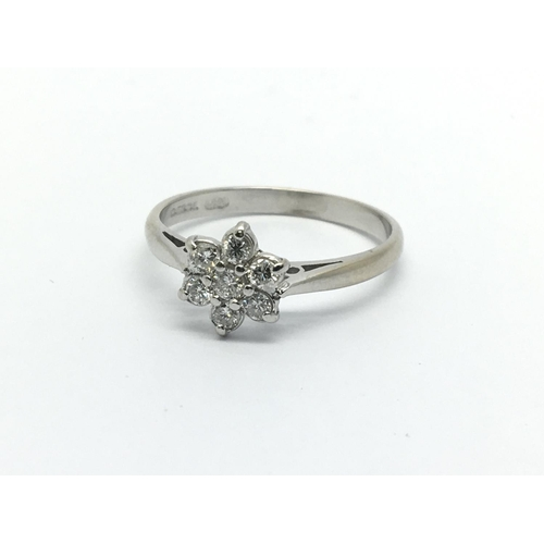 40 - An 18ct white gold seven stone diamond ring in the form of a flowerhead, approx .33ct, approx 2.2g a...