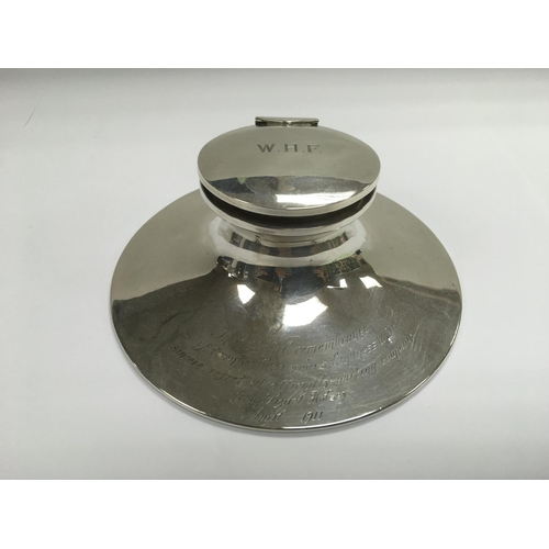 52 - A silver capstan inkwell with inscription, Birmingham hallmarks - NO RESERVE...