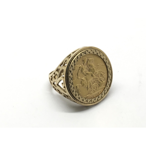 1 - A 9ct gold ring set with an 1895 sovereign, approx 13.9g and approx size V....