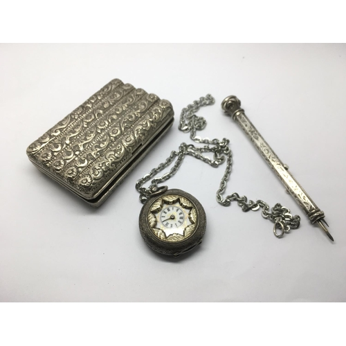 17 - A white metal cigarette case, a silver dual pen and pencil plus a silver key wind pocket watch for r...