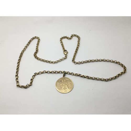 2 - A 9ct gold belcher link necklace with attached St Christopher, approx 19g....