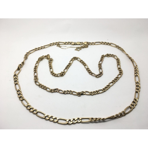31 - Two 9ct gold necklaces with alternating links, approx 21g....