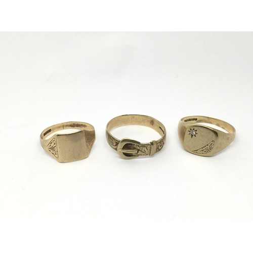34 - Three worn 9ct gold rings, approx 11g....