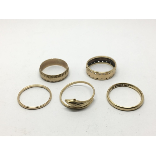35 - A collection of worn 9ct gold rings, approx 8.6g....