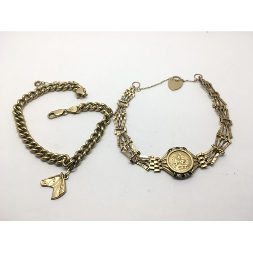 36 - Two 9ct gold bracelets each depicting horses, approx 16g....
