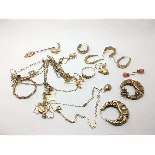 44 - A collection of earrings including some 9ct gold examples and small chains....