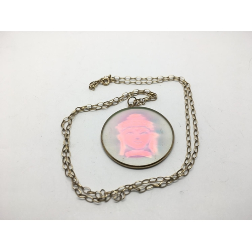 53 - A 9ct gold belcher link necklace with hologram pendant, approx 9.5g....