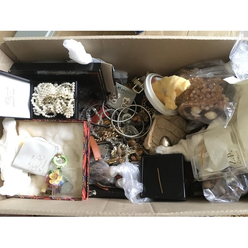 59 - A box of costume jewellery and quartz watches....