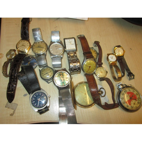3 - Collection 16 x assorted vintage and modern wrist & pocket watches : Mikado, Ingersoll, Lorus, Citiz...