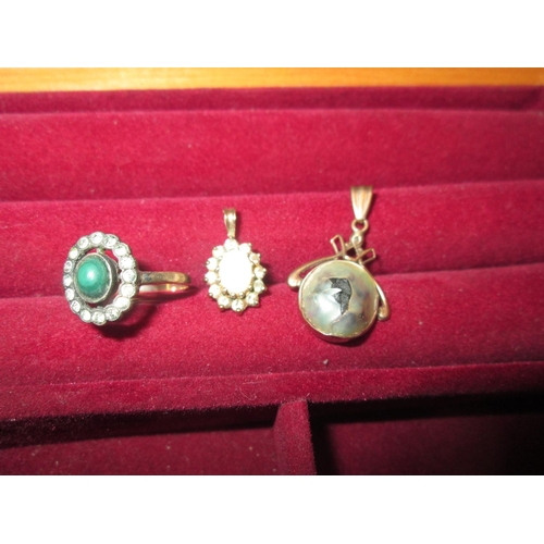 38 - 9 ct gold dress ring set with paste (size 55), 9 gold pendant set with opals and diamonds & one othe...