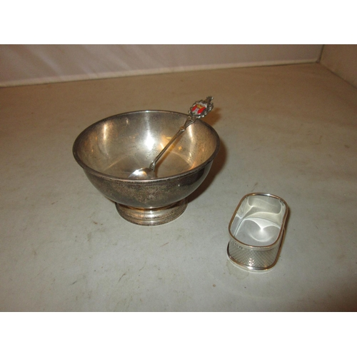 20 - Solid silver sugar bowl London 1937 William Comyns & Sons Ltd , engine turned serviette ring & souve...