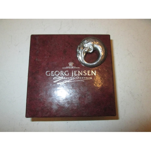 22 - Georg Jensen silver fish brooch in box of issue...