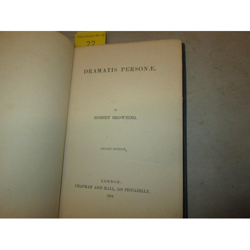 22 - Hardback in blue cloth with gold lettering on spine : Dramatis Personae by Robert Browning, Pub. Cha...