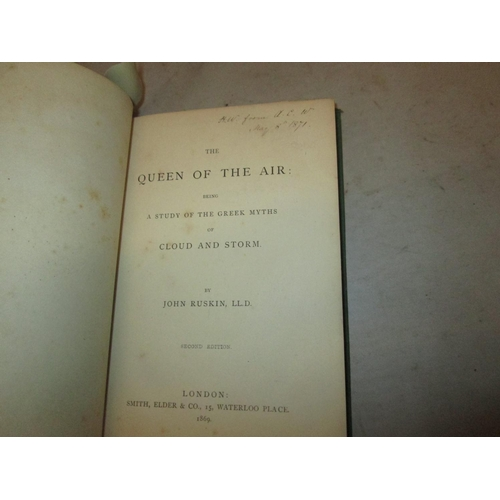 23 - Hardback, bound in green cloth with gold lettering on spine : The Queen of the Air by John Ruskin, P...