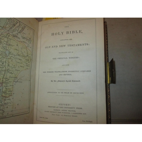 16 - H/ Back, bound in full leather with brass clasp, gold lettering on spine : The Holy Bible containing...