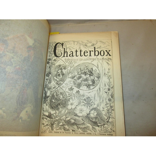3 - H/Back in green decorated F board & spine : Chatterbox, Pub Wells, Gardner, Darton & Co, 1904...