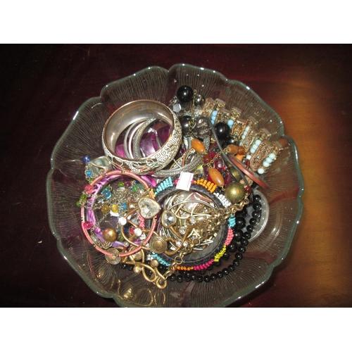 1 - Bowl of costume jewellery...