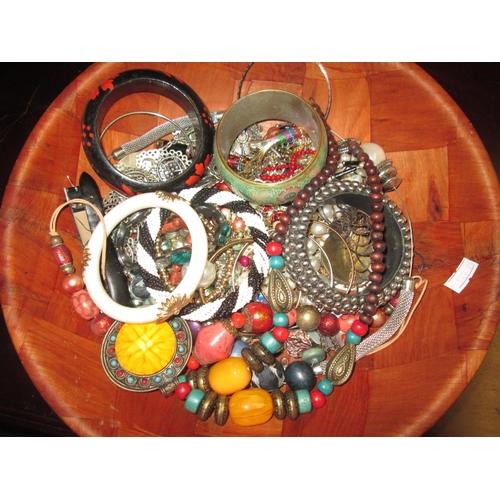 3 - Bowl of costume jewellery...