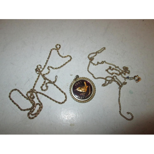 36 - 9 ct gold necklace 5 g & one other & coin pendant...